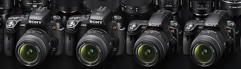 New Sony Alpha A580, A560, A55, and A33 DSLRs, picture from Sony Europe